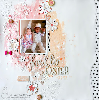 Hello Easter Layout by Samantha Mann, scrapbook, mixed media, dies, layout, Newton's Nook Designs, #newtonsnook #scrapbook, #layout