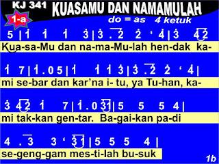 Lirik dan Not Kidung Jemaat 341 KuasaMu dan NamaMulah