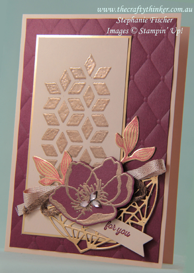 #thecraftythinker  #stampinup  #beautifulpromenade  #eclecticlayers #cardmaking  #elegantcard , Beautiful Promenade, Tufted, Eclectic Layers, Embossing, Stampin' Up Australia Demonstrator, Stephanie Fischer, Sydney NSW