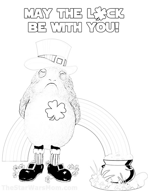 Porg Coloring Page - Star Wars Theme St Yodatrick's Day