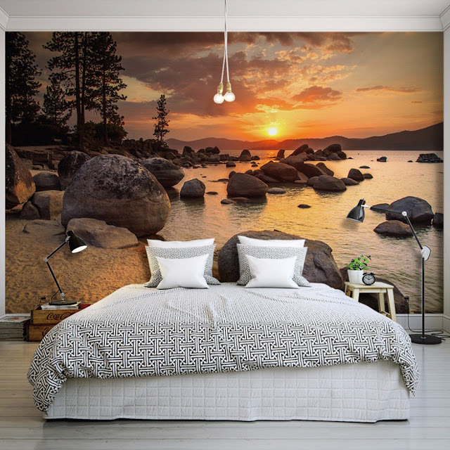 Photo Wallpaper for Bedroom Wall Murals Landscape Sunset