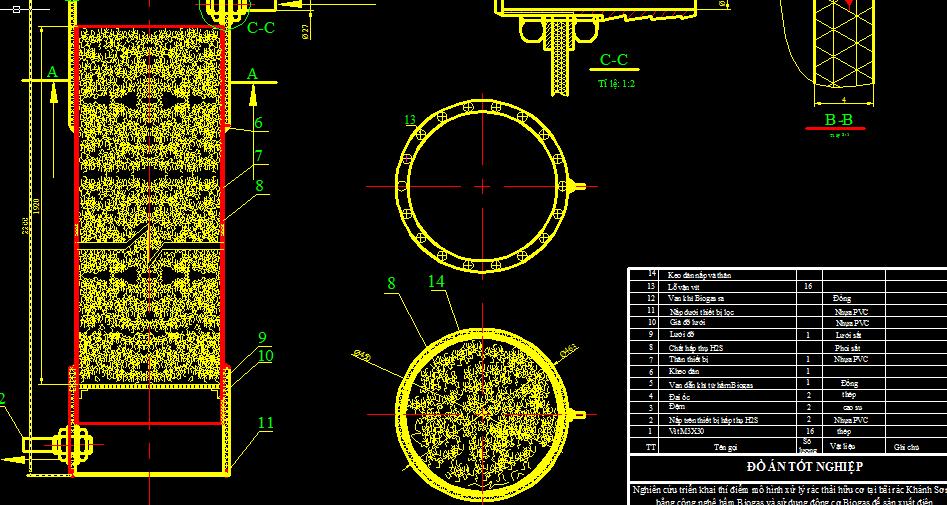 bản vẽ nghiên cứu triển khai thí điểm mô hình xử lý rác thải hữu cơ bằng công nghệ hầm Biogas và sử dụng động cơ Biogas để sản xuất điện
