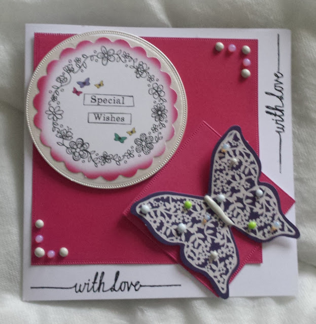 "Special Wishes - With Love - Butterfly 7"" square card"