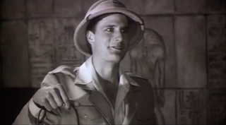 Actor Jeff Daniels in a pith hat in an ancient Egyptian tomb