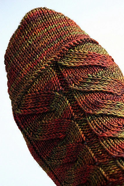 Free sock pattern on Ravelry.  Sock designed for self striping yarn.
