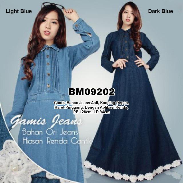 Bursa Grosir Busana Muslim Tanah Abang  BM09202 Gamis Bahan Jeans ... 30f93e08cd