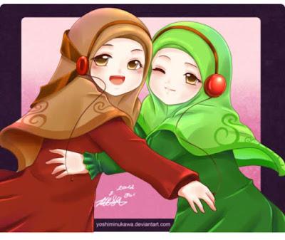 kartun 2 sahabat muslimah