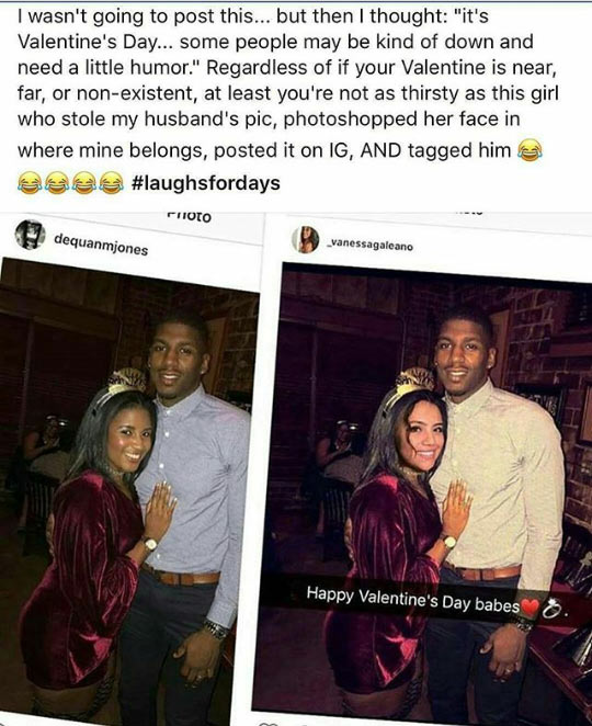 Valentine: Woman caught photoshopping her face into another woman's husband