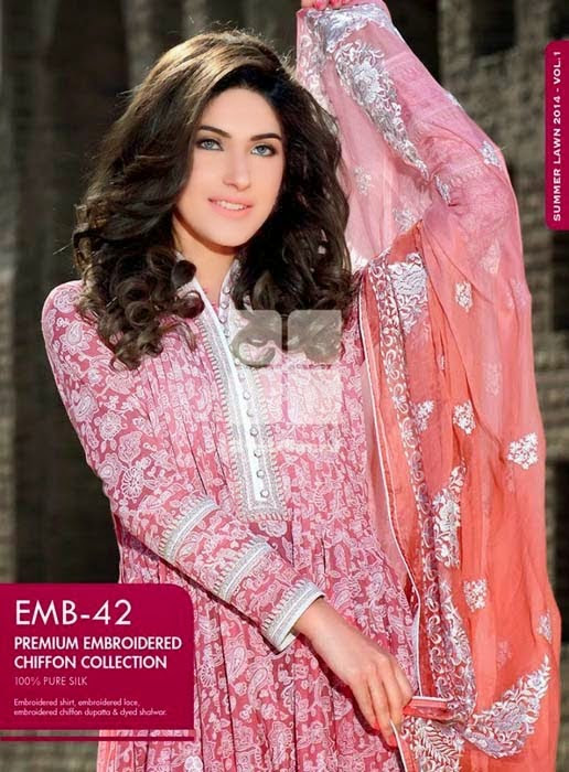 Gul Ahmed Premium Embroidered Lawn 2014 Collection