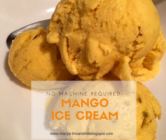 No machine Homemade Ice Cream made with mangoes, pistachio and cardamom.
