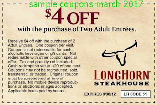 free Longhorn Steakhouse coupons march 2017