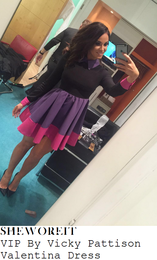 vicky-pattison-black-purple-pink-colour-block-long-sleeve-collared-cuff-detail-skater-dress-loose-women