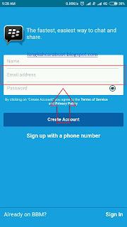 Tutorial Langkah Cara Buat Akun BBM ID Full Email Verifikasi di HP Android