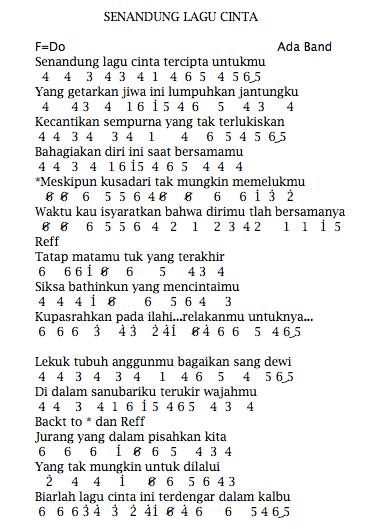 Not Angka Pianika Lagu Senandung Cinta - Ada Band