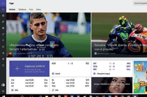 MSN Sport app per windows 10