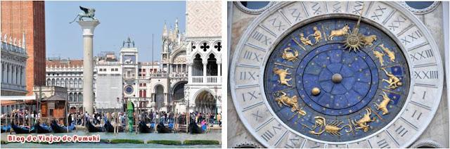 El león alado, símbolo de la ciudad y el Reloj de la Plaza de San Marcos
