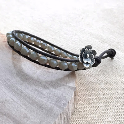leather and crystal woven bracelet