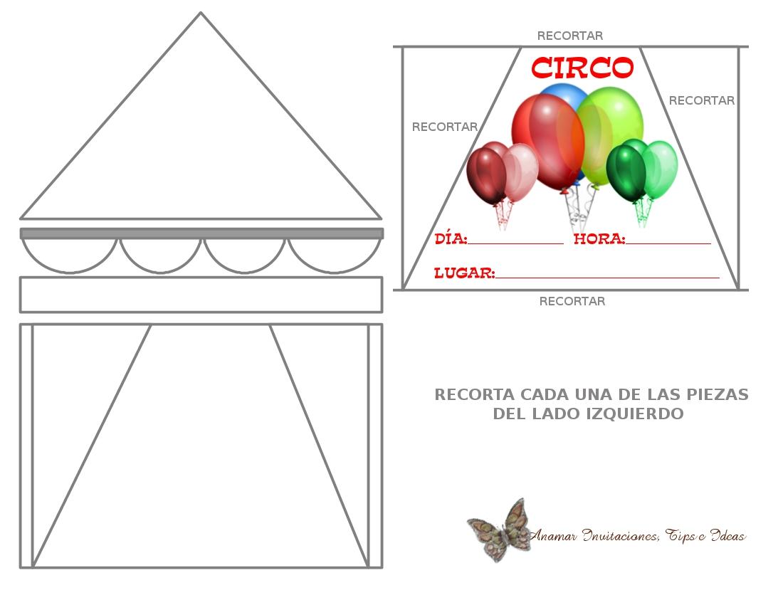 Molde Para Imprimir De Laco Lonita De Cilicone: Invitación Temática Circo