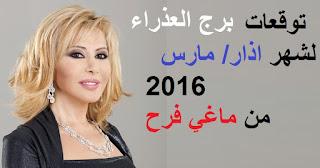 توقعات برج العذراء لشهر اذار/ مارس 2016 من ماغي فرح