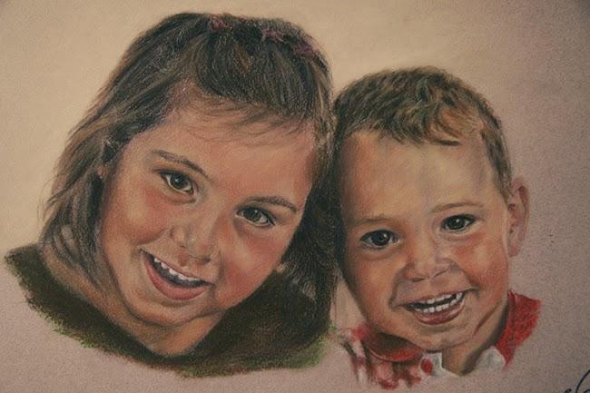 Retrato cuadro de dos niños riendo