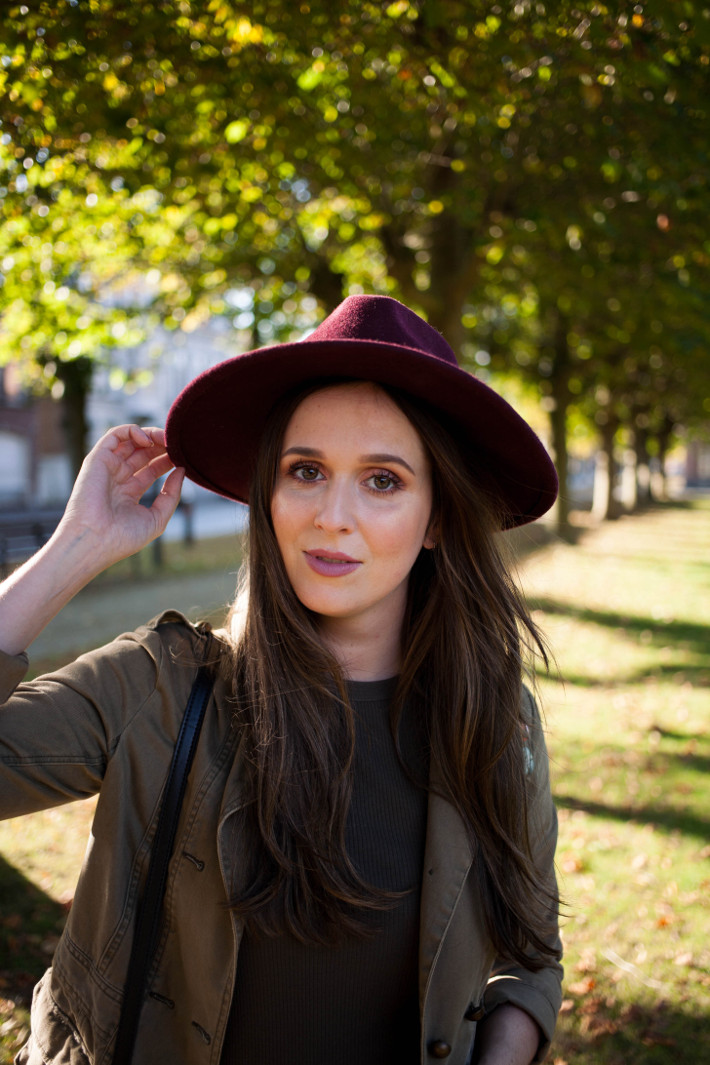 wide brim hat, military jacket