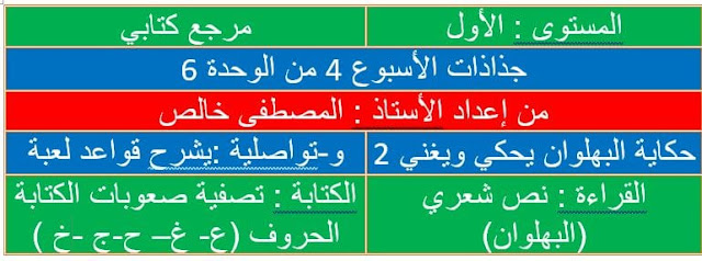 جذاذت المستوى الأول  للأسبوع الرابع من الوحدة 6 مرجع كتابي في اللغة العربية