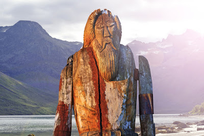 A statue of the Norse god Odin to be thrown over Godafoss waterfall