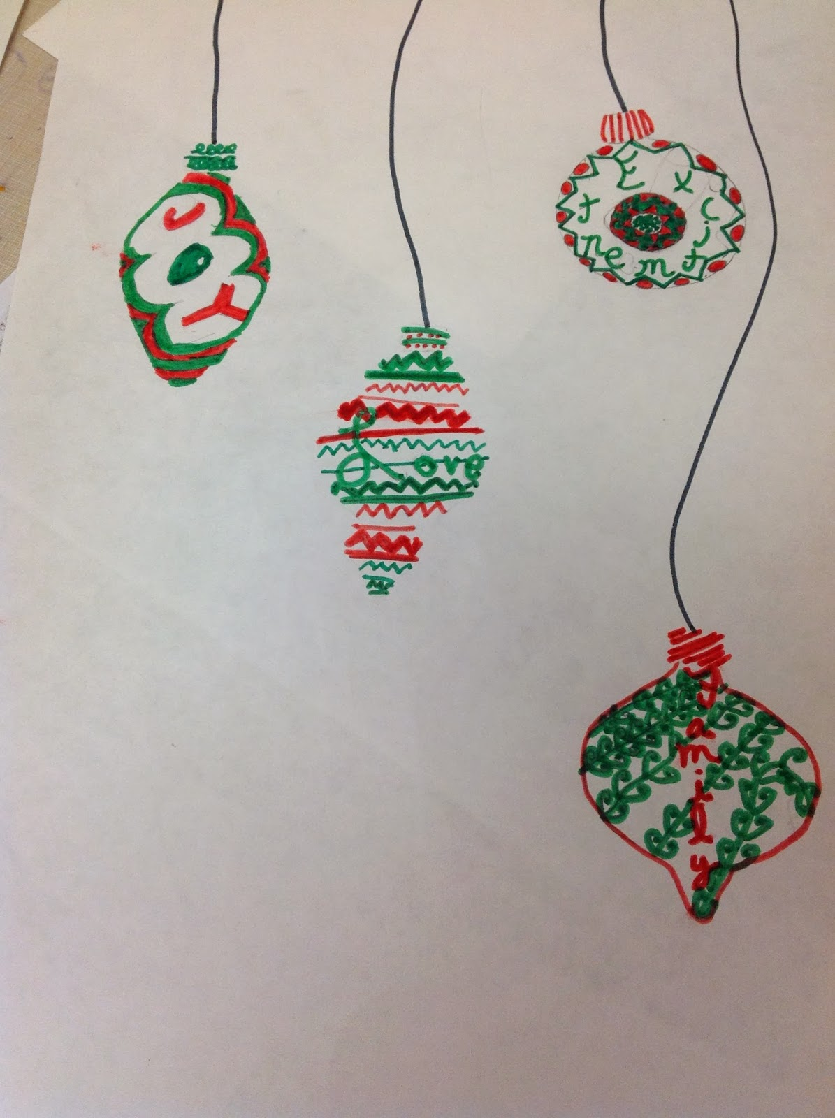 Miss Arty Pants: Christmas Ornament Drawing