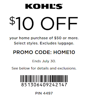 Kohl's coupon $10 off $50 Home purchase