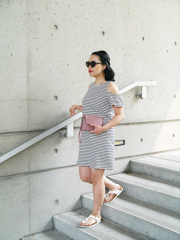 Minimalist style #ootd featuring striped cold shoulder Massimo Dutti dress with ruffle sleeves, #MattandNatxIndigo millennial pink mauve limited edition clutch, white Birkenstock Gizeh sandals, Dior Addict Lip Tattoo 451, tortoiseshell cat-eye Ray Ban sunglasses