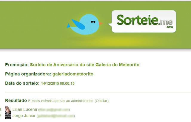 resultado sorteio meteorito + camisetas Galeria do Meteorito
