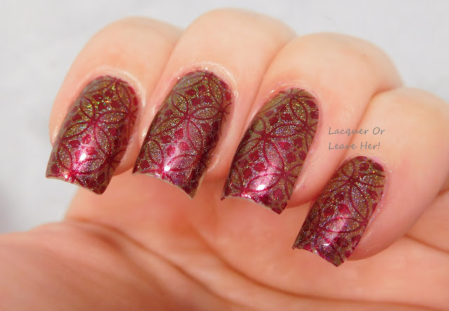 It Girl Nail Art Ruby + IG105 over Shinespark Polish Pretty Unicorn