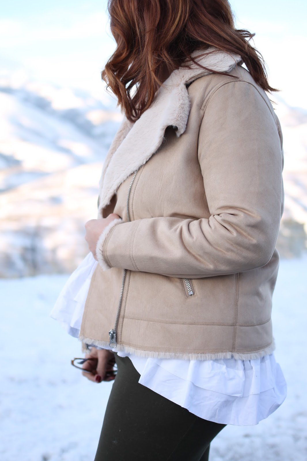 Armitron watch, faux shearling moto jacket, post partum outfit, mom style