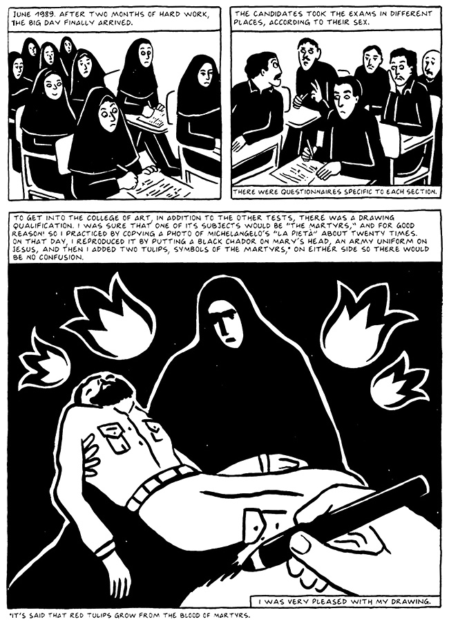 Read Chapter 13 - The Exam, page 127, from Marjane Satrapi's Persepolis 2 - The Story of a Return