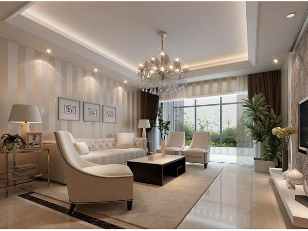 Decoracao De Sala De Estar Luxuosa ~ sofá tapete e mesa de centro da luminária de piso