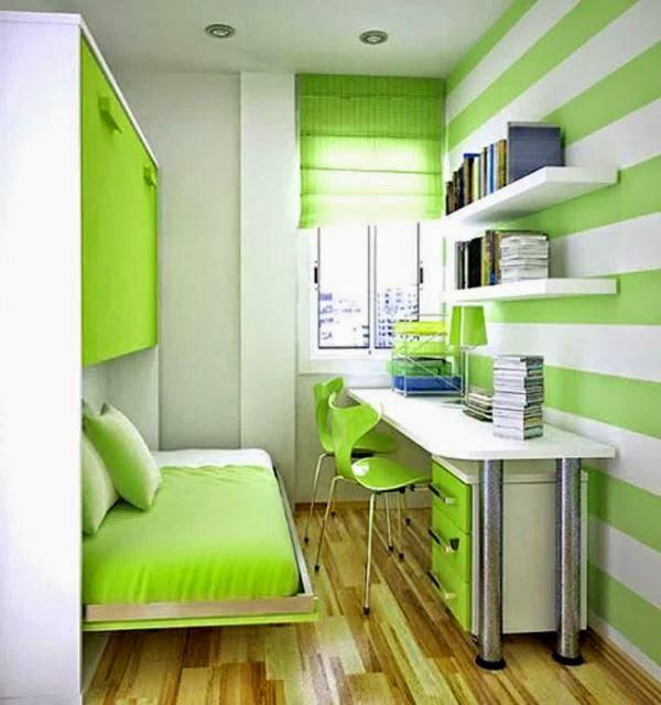 Model kamar tidur sempit yang cerah dan indah