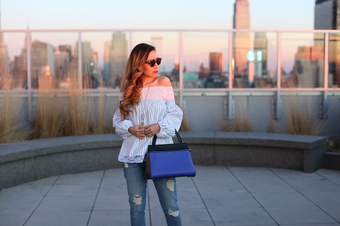 MLM label off shoulder top, Celine edge bag, 7fam boyfriend jeans, christian louboutin glitter pumps, komono sunglasses, kendra scott necklace, street style, spring outfit