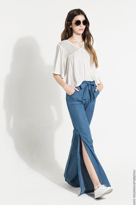 Pantalones palazzos verano 2017. Moda mujer estilo urbano 2017 ropa de moda.