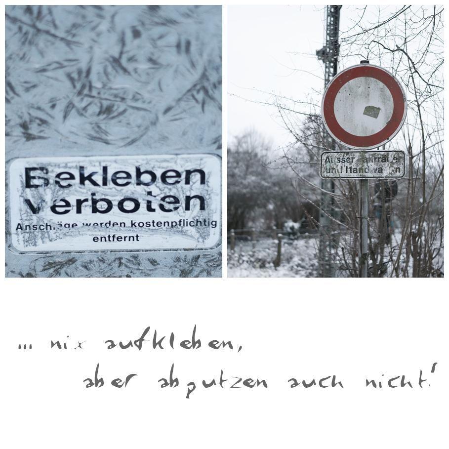 Blog + Fotografie by it's me! - Draussen - Magische Mottos im Januar, Hinweisschild am Bahnübergang & Bekleben verboten