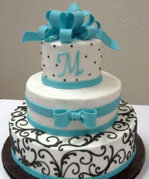 m s wedding cakes 2 wedding cakes with turquoise blue color food and drink 17638