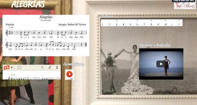 Wix de las Alegrías Tirititrán por Esther Torres. Podrás tocar la Flauta con acompañamiento y aprender el Compás de Alegrías y a bailar alegrías con Esther (pincha en la imagen)