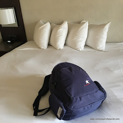 backpack on bed at Hilton San Francisco Union Square