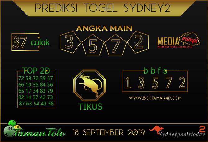 Prediksi Togel SYDNEY 2 TAMAN TOTO 18 SEPTEMBER 2019