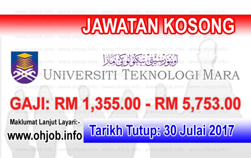 Jawatan Kerja Kosong Universiti Teknologi MARA - UiTM logo www.ohjob.info julai 2017