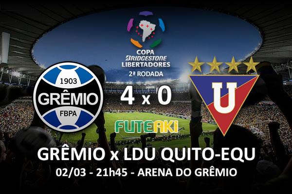 Veja o resumo da partida com os gols e os melhores momentos de Grêmio 4x0 LDU Quito-EQU pela 2ª rodada da Copa Libertadores da América 2016.