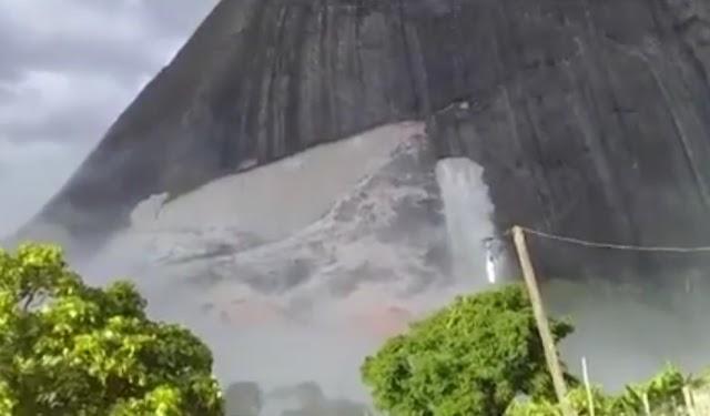 Defesa Civil pede de estudo em local onde pedra soltou de montanha após tremores de 2,5 graus na escala Richter em Guaratinga