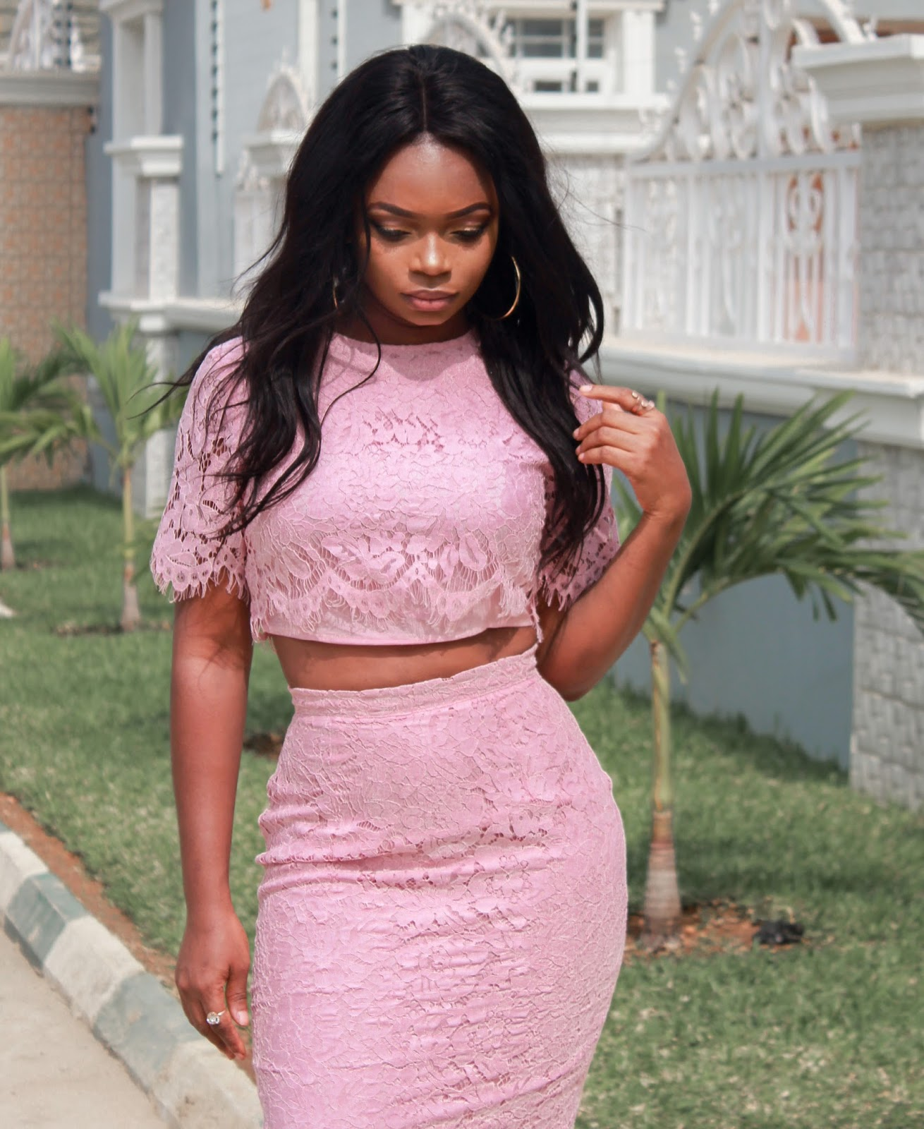 OPEN MIDRIFF LACE DRESS - Valentine's Day LookBook - Outfit Inspiration. Shein Pink Open Midriff Lace Dress with Boohoo court shoes