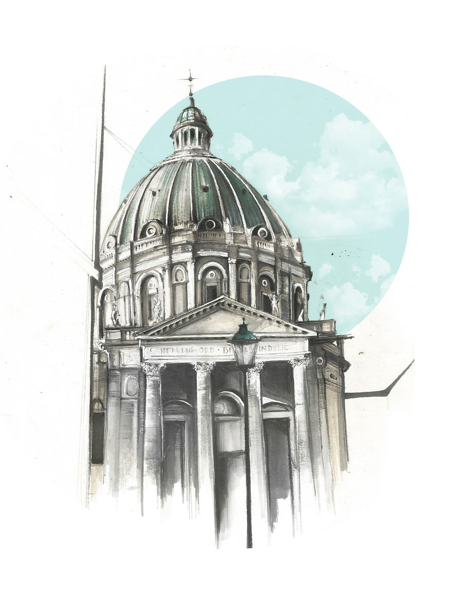09-The-Marble-Church-Veevinci-Drawing-Architectural-Buildings-to-Relax-www-designstack-co