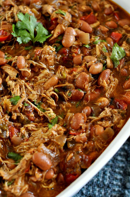 Slow Cooker Smoky Chicken with Pinto Beans | Taste As You Go