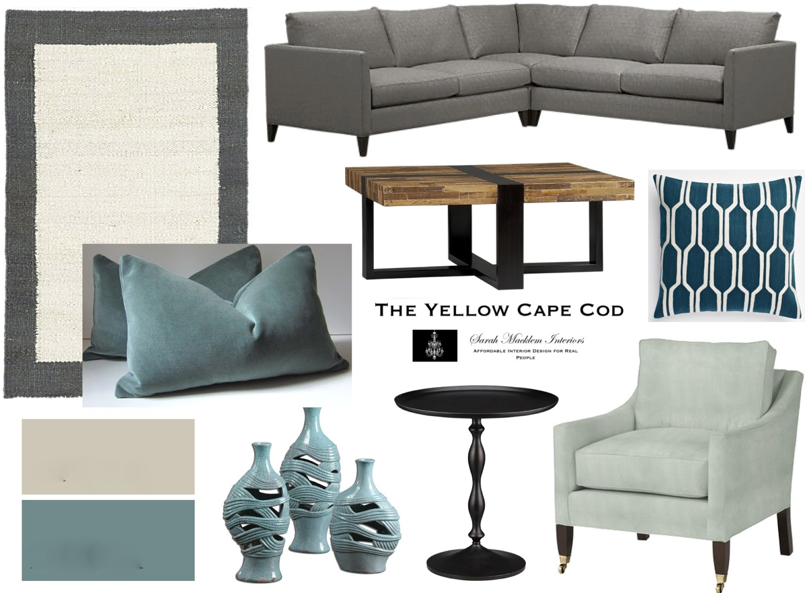 Tempered Teal Dining Living Room